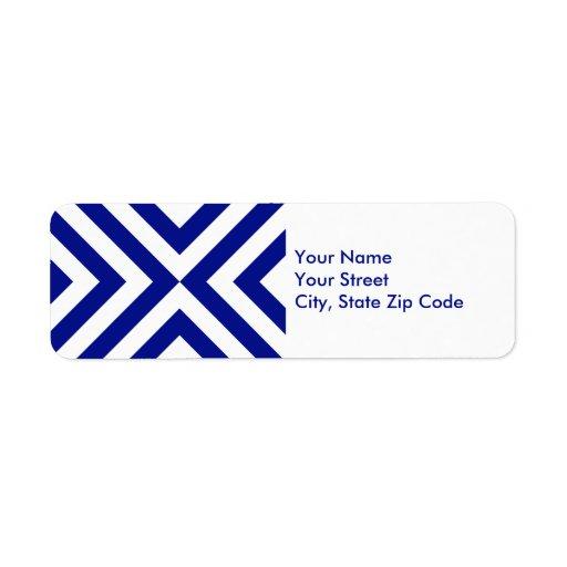 Etiqueta azul y blanca del remite de los galones etiquetas de remite