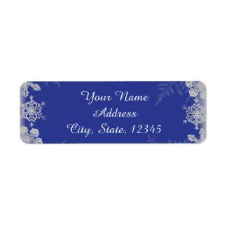 Etiqueta azul y de plata del boda del copo de etiqueta de remitente