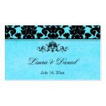 Etiqueta azul y negra del favor del boda del damas plantillas de tarjetas de visita