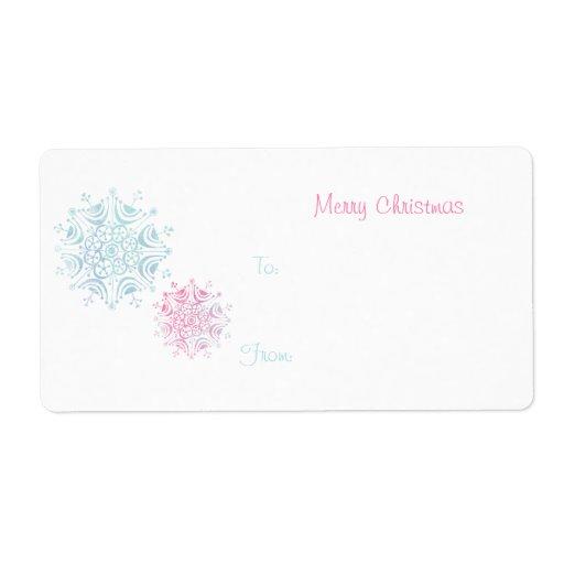 Etiqueta azul y rosada del regalo del copo de niev etiqueta de envío