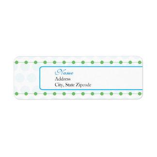 Etiqueta azul y verde del remite de la fiesta de etiqueta de remitente