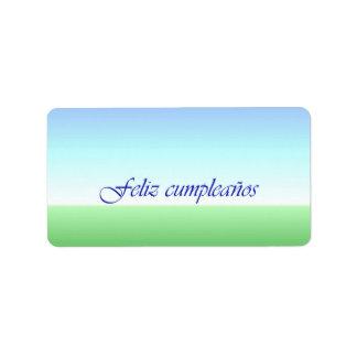 Etiqueta azulverde del cumpleaños español etiqueta de dirección
