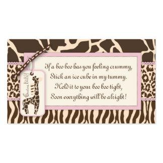 Etiqueta B del regalo del chica del safari Tarjetas De Visita