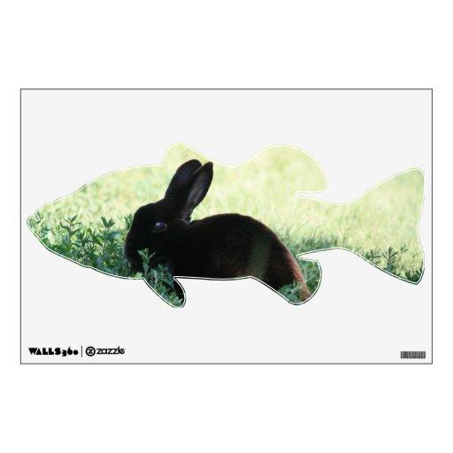Etiqueta baja de la pared del conejito negro de Li