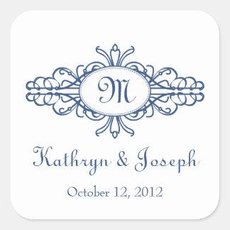 Etiqueta barroca del favor del boda de los azules
