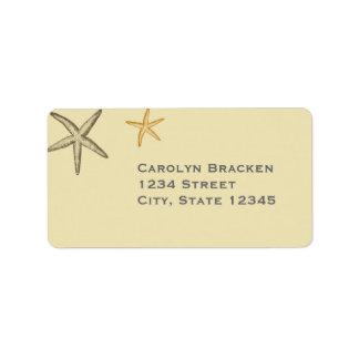 Etiqueta beige del remite de las estrellas de mar  etiqueta de dirección