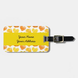 Etiqueta blanca amarillo-naranja del equipaje de l etiquetas bolsa