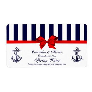 Etiqueta blanca azul del agua de la raya H del anc Etiqueta De Envío