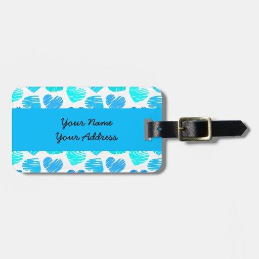 Etiqueta blanca azul del equipaje de los corazones etiquetas maleta