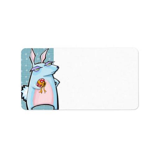 Etiqueta blanca azul del regalo de Pascua del cone Etiquetas De Dirección