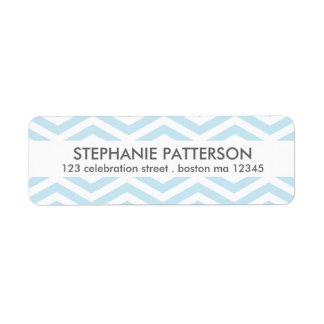Etiqueta blanca azul moderna del remite de Chevron Etiqueta De Remite