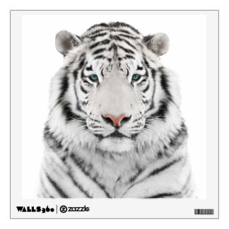 Etiqueta blanca de la pared de la cabeza del tigre vinilo