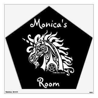 Etiqueta (blanca) de la pared del unicornio del pe