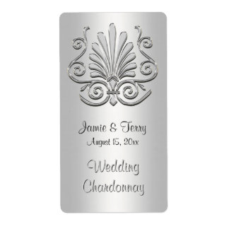 Etiqueta blanca de plata 2 del vino del fiesta del etiqueta de envío