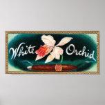 Etiqueta blanca del cigarro de la orquídea impresiones