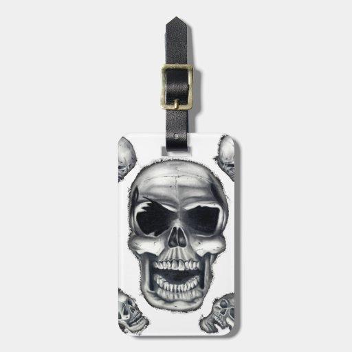 Etiqueta blanca del equipaje de los cráneos humano etiquetas maletas