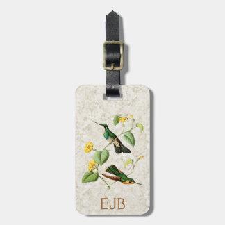 Etiqueta blanca del equipaje del colibrí de la etiquetas maleta
