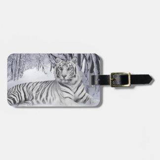 Etiqueta blanca del equipaje del tigre etiquetas para equipaje