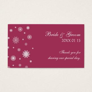 Etiqueta blanca del favor del boda del invierno de tarjetas de visita