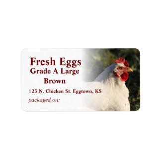 Etiqueta blanca del huevo de gallina etiqueta de dirección