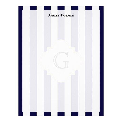 Etiqueta blanca del monograma de la raya media bla plantilla de membrete