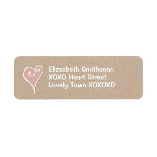 Etiqueta blanca del remite de Kraft del corazón de Etiqueta De Remitente