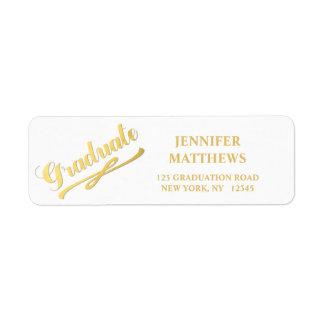 Etiqueta blanca del remite de la graduación del etiquetas de remite