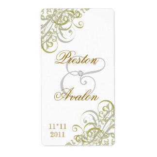 Etiqueta blanca del vino del boda de la voluta bar etiquetas de envío
