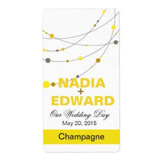 Etiqueta blanca elegante del vino amarillo de los etiqueta de envío