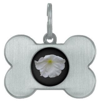 Etiqueta blanca hermosa del mascota de la petunia placas de nombre de mascota