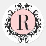 Etiqueta blanca negra del rosa del damasco del