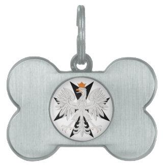 Etiqueta blanca polaca del hueso de perro de la cr placa de nombre de mascota