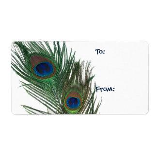 Etiqueta blanca preciosa del regalo del pavo real etiquetas de envío