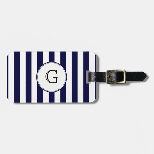 Etiqueta blanca redonda del monograma de la raya b etiquetas maletas