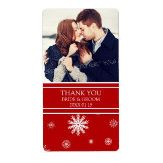 Etiqueta blanca roja del boda del invierno de los  etiqueta de envío