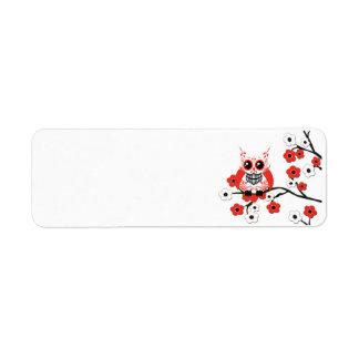 Etiqueta blanca roja del búho de la flor de cerezo etiquetas de remite