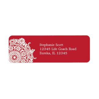 Etiqueta blanca roja del ornamento elegante de Ave Etiquetas De Remite