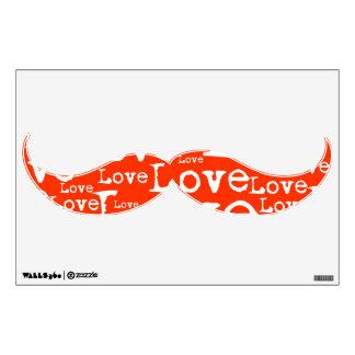 Etiqueta blanca y anaranjada de la pared del bigot vinilo