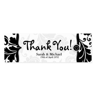Etiqueta blanca y negra del regalo del favor del b plantilla de tarjeta de visita