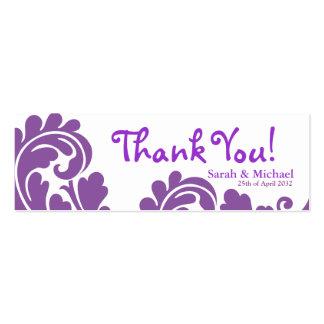 Etiqueta blanca y púrpura del regalo del favor del plantilla de tarjeta de negocio