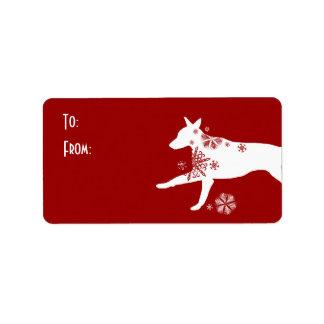 Etiqueta blanca y roja festiva del regalo del perr etiqueta de dirección