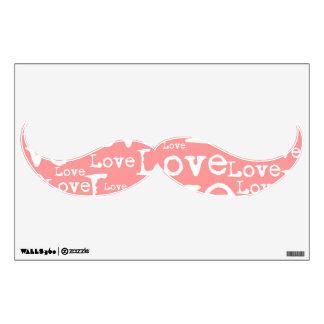 Etiqueta blanca y rosada de la pared del bigote de vinilo decorativo