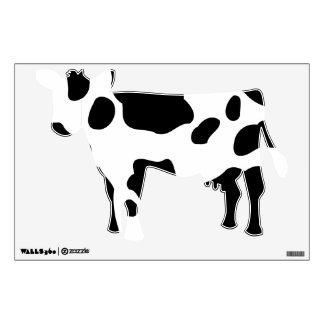 Etiqueta blanco y negro de la pared de la vaca de