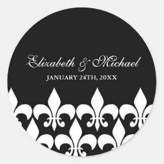 Etiqueta blanco y negro del favor del boda de la