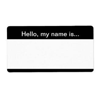 Etiqueta blanco y negro del nombre corporativo - e etiqueta de envío