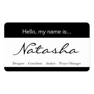 Etiqueta blanco y negro del nombre corporativo - tarjetas de visita