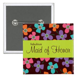 Etiqueta/botón conocidos de encargo del boda del pin cuadrado