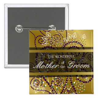 Etiqueta/botón del nombre del boda del oro de los  pin