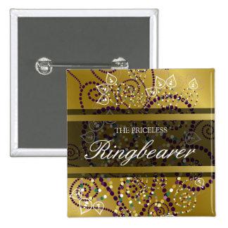 Etiqueta/botón del nombre del boda del oro de los  pins