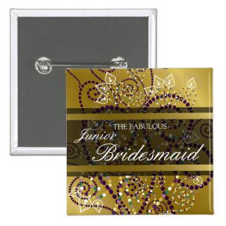 Etiqueta botón del nombre del boda del oro de los pin